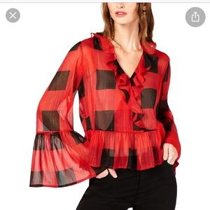 NWT INC plaid ruffle blouse bell sleeve sheer